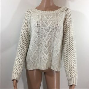 Cynthia rowley ivory cable knit sweater wool sz L